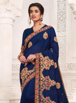 Weaving Navy Blue Designer Saree