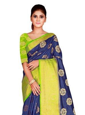 Weaving Navy Blue Nylon Traditional Designer Saree