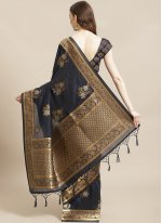 Weaving Navy Blue Silk Traditional Saree