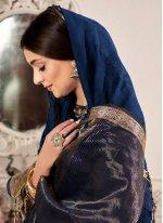 Weaving Navy Blue Traditional Saree