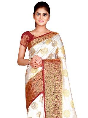 Weaving Nylon Off White Traditional Designer Saree