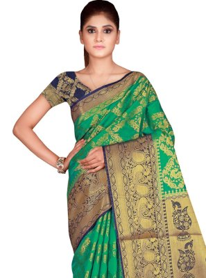 Weaving Nylon Rama Traditional Designer Saree
