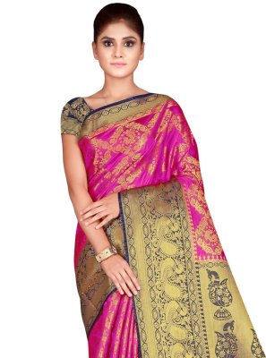 Weaving Nylon Traditional Saree in Hot Pink