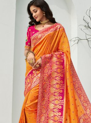 Weaving Orange Banarasi Silk Designer Traditional Saree