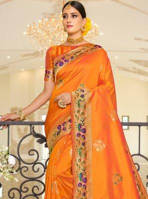 Weaving Orange Banarasi Silk Traditional Saree