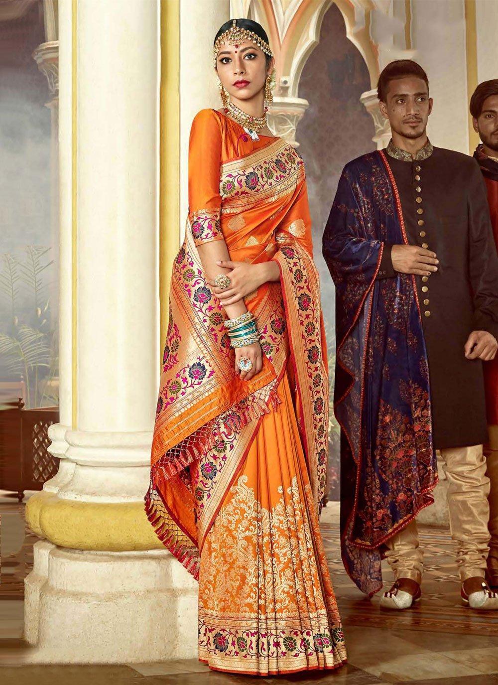 Weaving Orange Silk Traditional Designer Saree