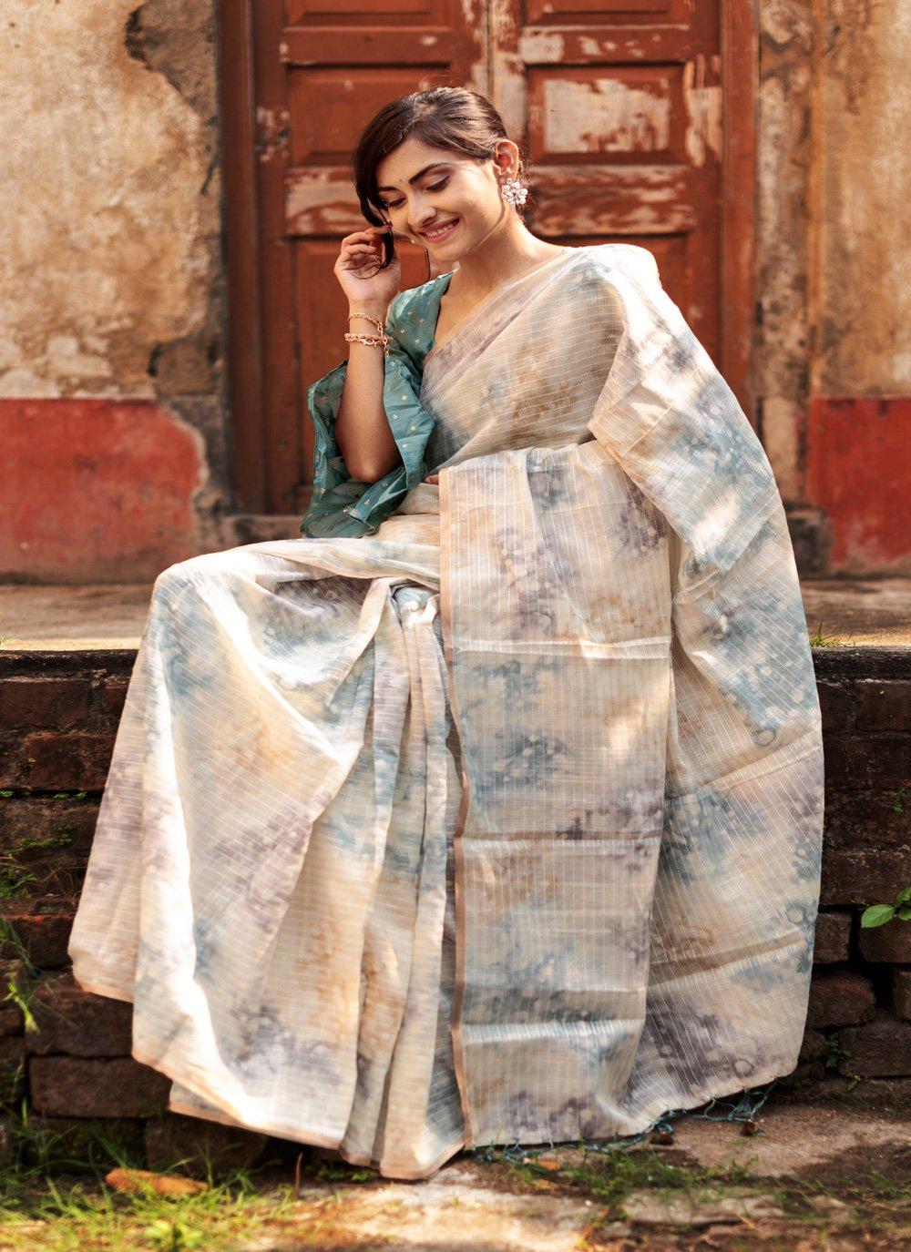 Weaving Organza Multi Colour Designer Traditional Saree