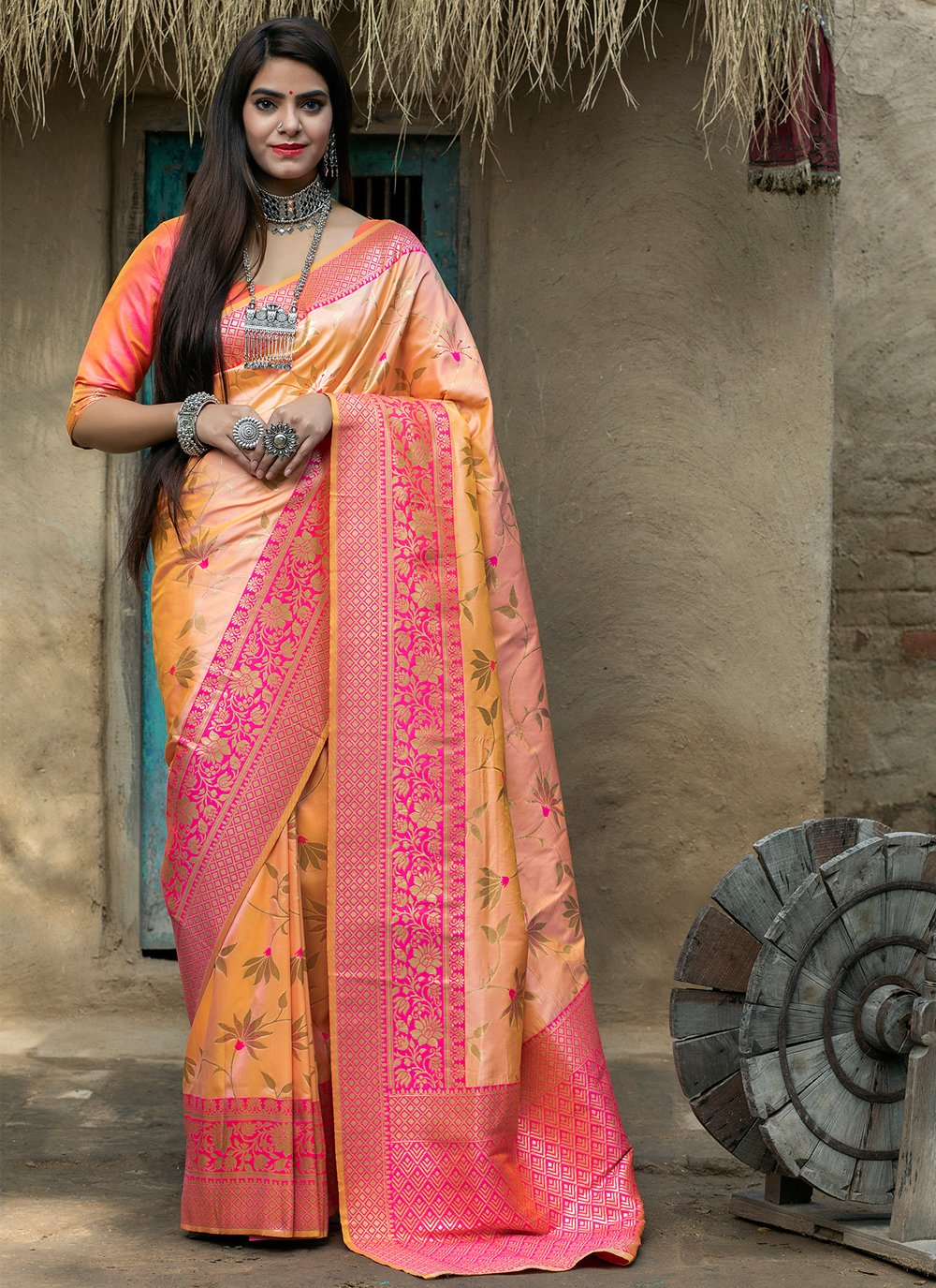 Weaving Peach and Pink Designer Traditional Saree