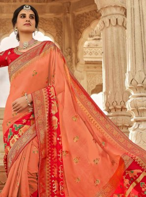 Weaving Peach Traditional Saree