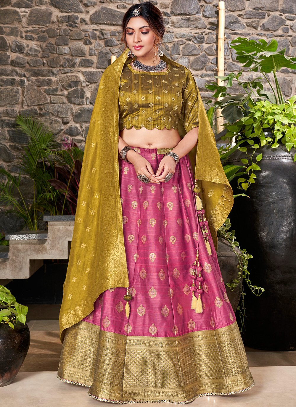 Weaving Pink A Line Lehenga Choli