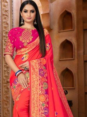 Weaving Pink Banarasi Silk Classic Saree