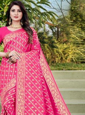 Weaving Pink Designer Traditional Saree