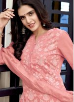 Weaving Pink Fancy Fabric Readymade Suit