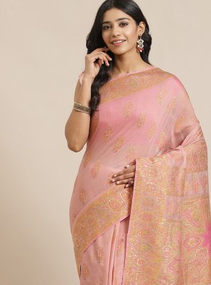 Weaving Pink Silk Designer Traditional Saree