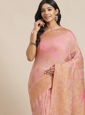 Weaving Pink Silk Designer Traditional Saree