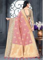 Weaving Pink Silk Traditional Designer Saree