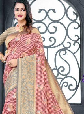Weaving Pink Silk Traditional Designer Saree