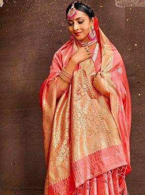 Weaving Pink Traditional Designer Saree