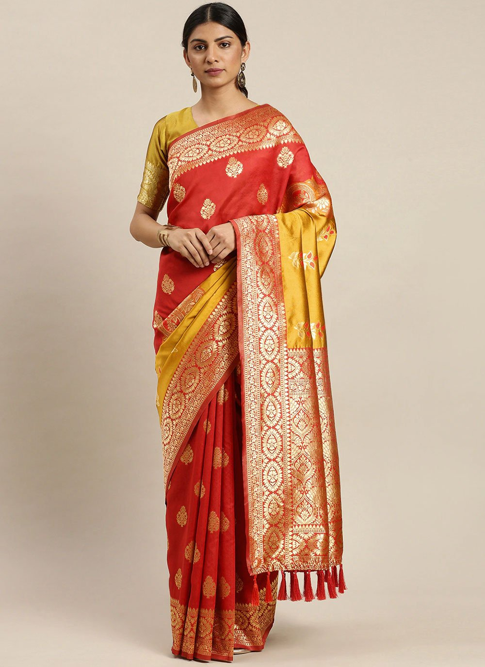 Weaving Poly Silk Traditional Designer Saree in Red