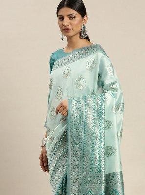 Weaving Poly Silk Turquoise Designer Traditional Saree