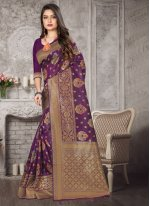 Weaving Purple Art Banarasi Silk Traditional Designer Saree