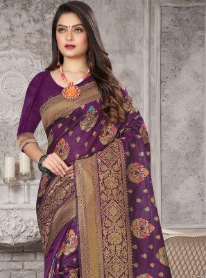 Weaving Purple Art Banarasi Silk Traditional Designer Saree