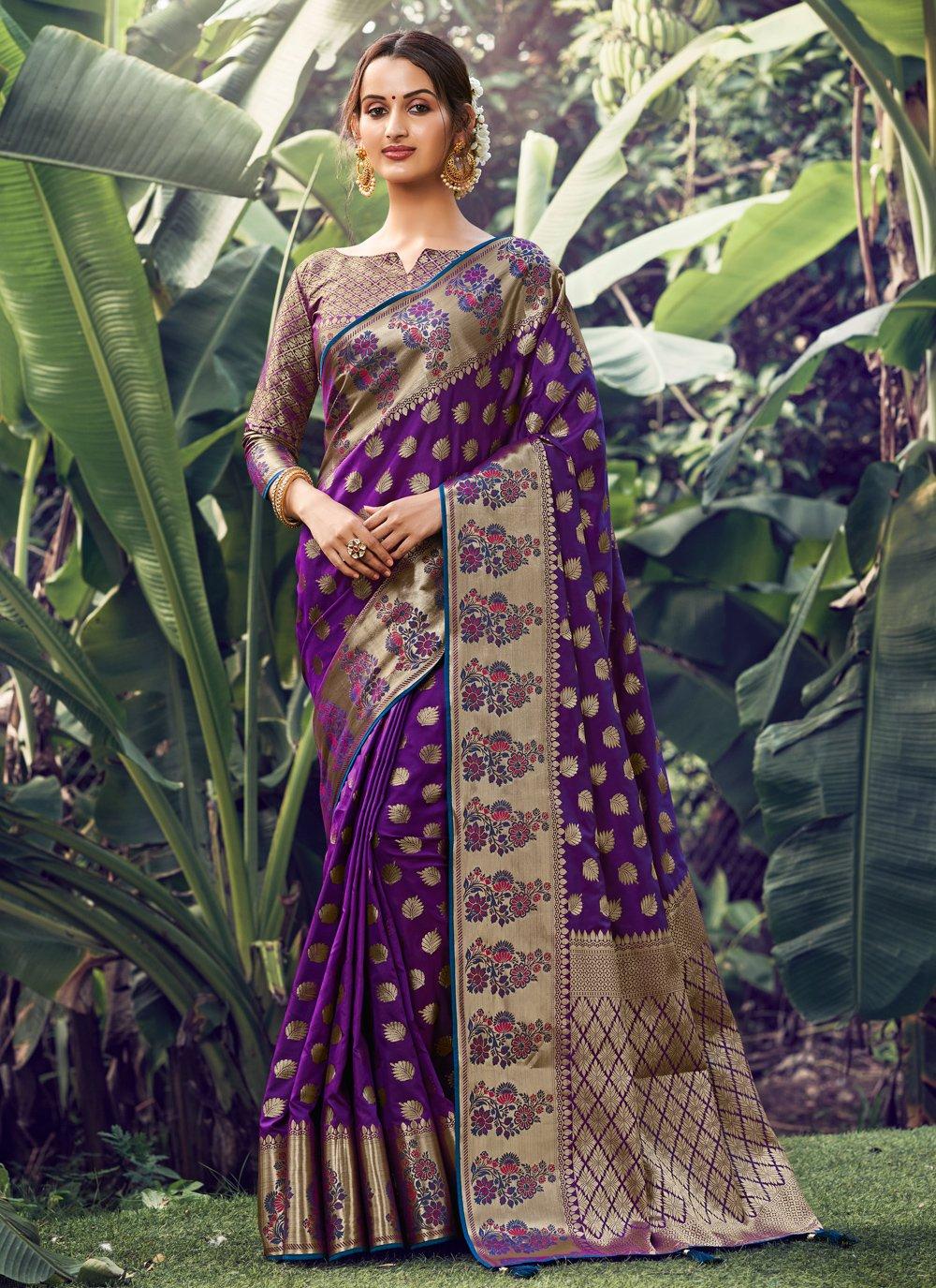 Weaving Purple Silk Traditional Saree
