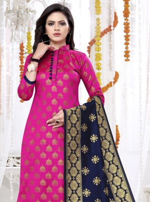 Weaving Rani Banarasi Silk Churidar Salwar Kameez