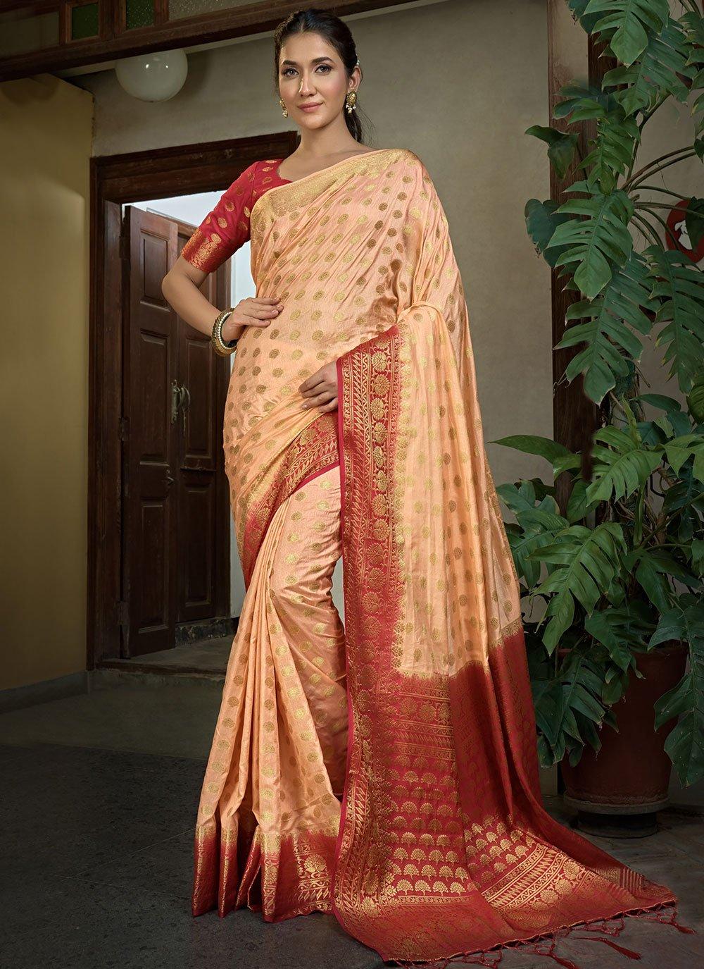 Weaving Raw Silk Peach Trendy Saree