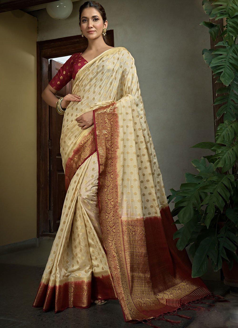Weaving Raw Silk Traditional Saree in Cream