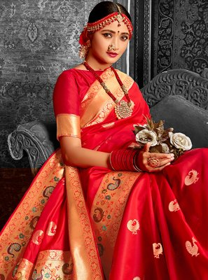 Weaving Red Banarasi Silk Designer Traditional Saree