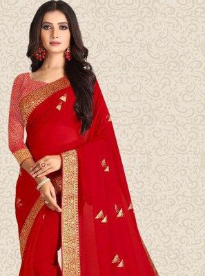 Weaving Red Contemporary Saree