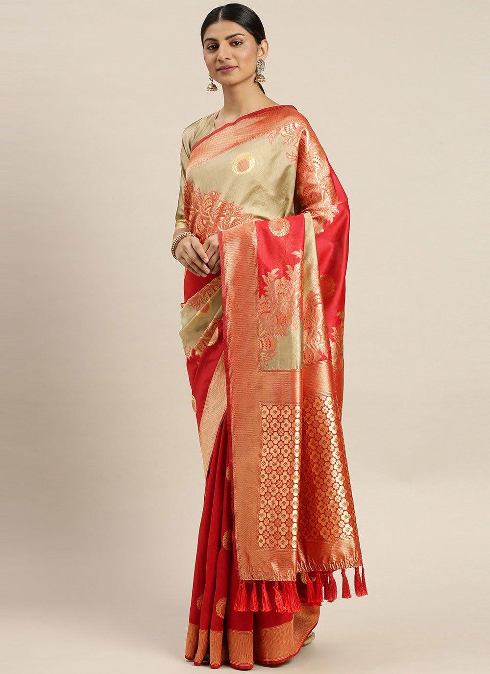 Weaving Red Poly Silk Traditional Designer Saree