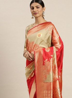 Weaving Red Poly Silk Traditional Designer Saree