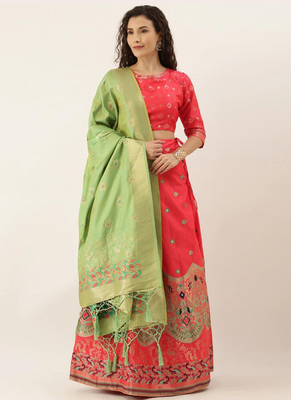 Weaving Rose Pink Art Silk Lehenga Choli