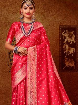 Weaving Rose Pink Banarasi Silk Designer Traditional Saree