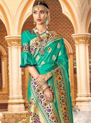 Weaving Sea Green Silk Traditional Saree