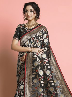 Weaving Silk Black Designer Traditional Saree