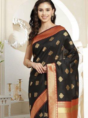 Weaving Silk Black Designer Traditional Saree