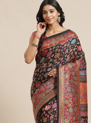 Weaving Silk Black Traditional Designer Saree