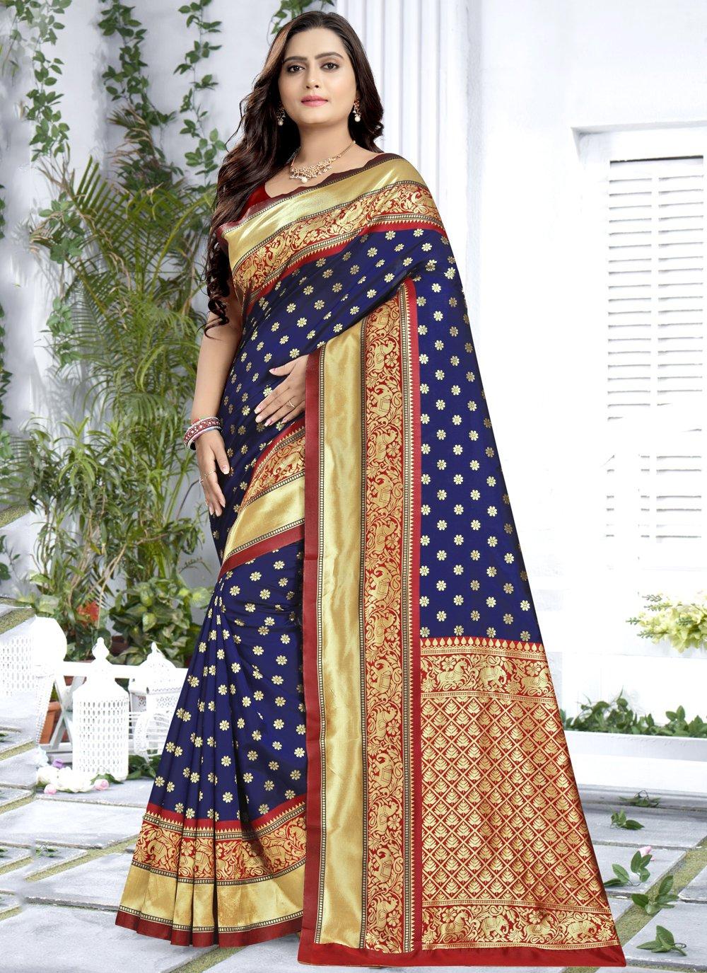 Weaving Silk Blue Classic Saree