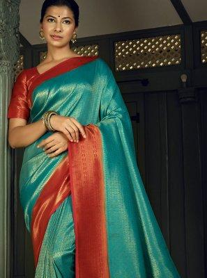 Weaving Silk Blue Traditional Designer Saree