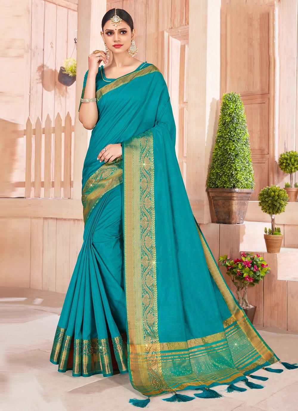 Weaving Silk Contemporary Saree in Teal