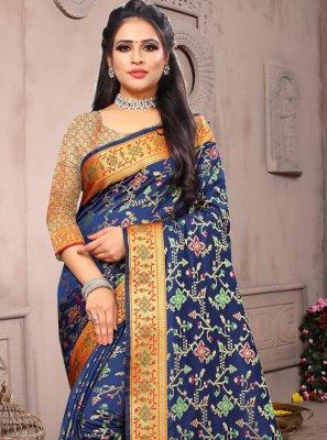 Weaving Silk Designer Saree in Navy Blue