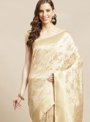 Weaving Silk Designer Traditional Saree in Beige