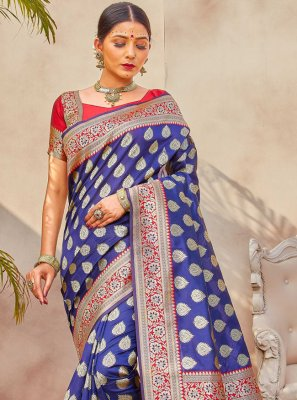 Weaving Silk Designer Traditional Saree in Blue