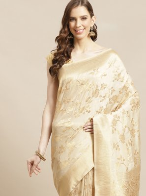 Weaving Silk Designer Traditional Saree in Cream