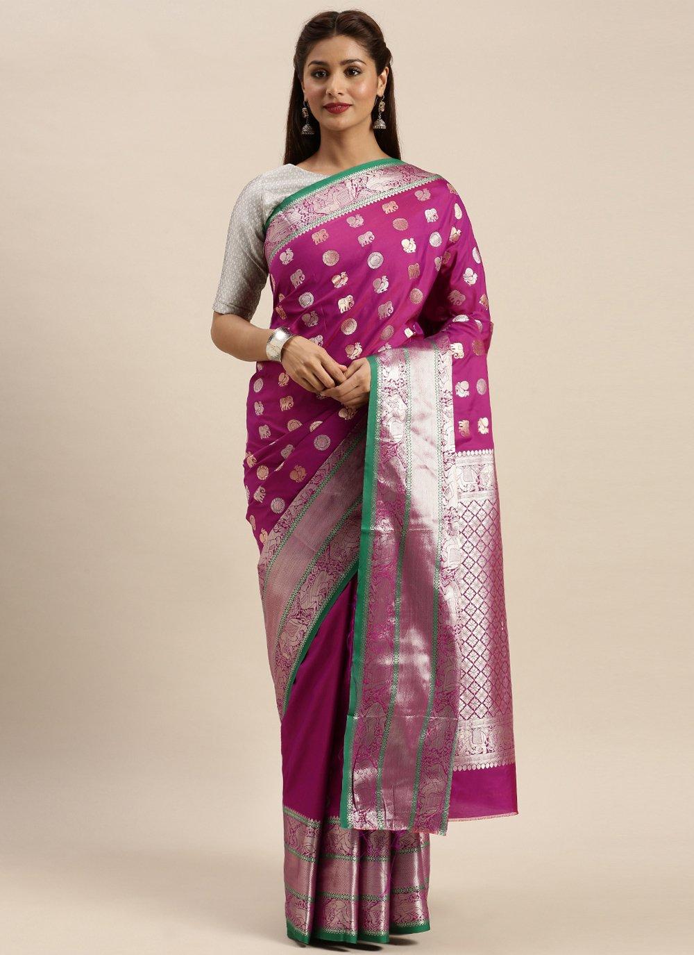 Weaving Silk Designer Traditional Saree in Pink