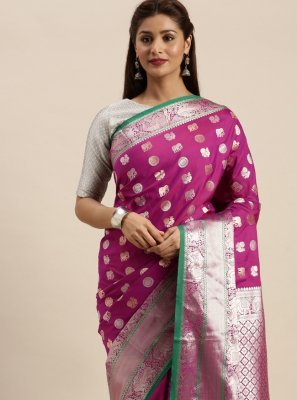 Weaving Silk Designer Traditional Saree in Pink
