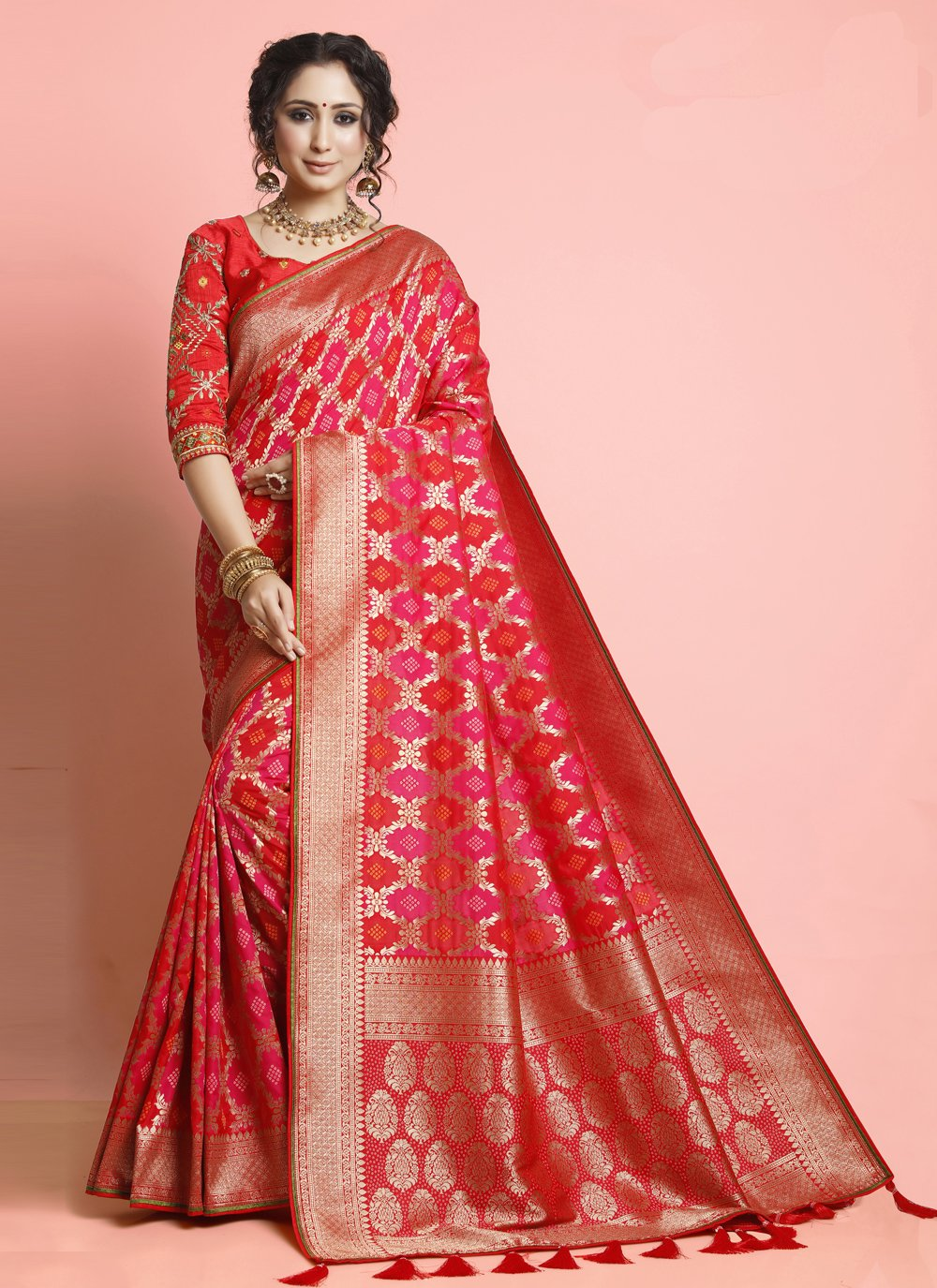 Weaving Silk Designer Traditional Saree in Pink and Red